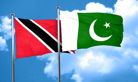 pakistani: Trinidad and tobago flag with Pakistan flag, 3D rendering