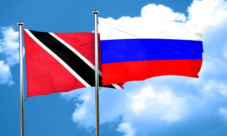 russia flag: Trinidad and tobago flag with Russia flag, 3D rendering