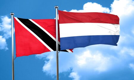 trinidad and tobago: Trinidad and tobago flag with Netherlands flag, 3D rendering Stock Photo