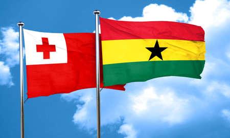 ghanese: Tonga flag with Ghana flag, 3D rendering