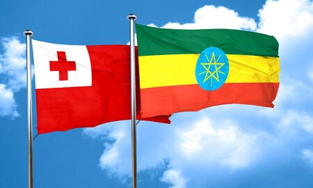 ethiopia flag: Tonga flag with Ethiopia flag, 3D rendering