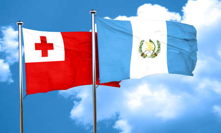 bandera de guatemala: bandera de Tonga con la bandera de Guatemala, representación 3D