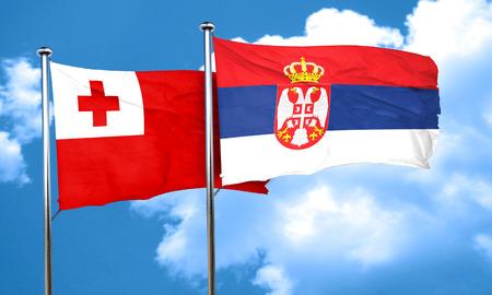 tonga: Tonga flag with Serbia flag, 3D rendering Stock Photo