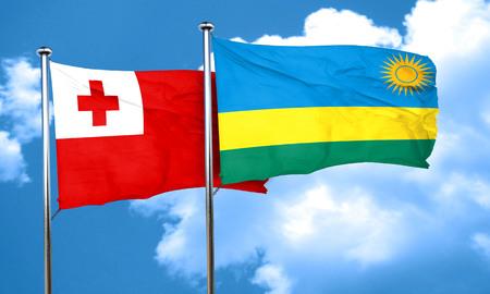 tonga: Tonga flag with rwanda flag, 3D rendering