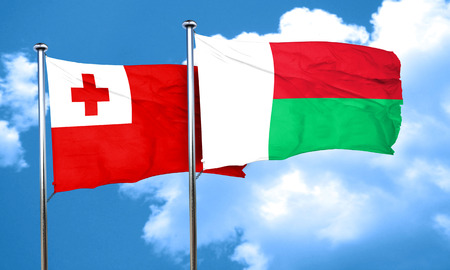 madagascar: Tonga flag with Madagascar flag, 3D rendering