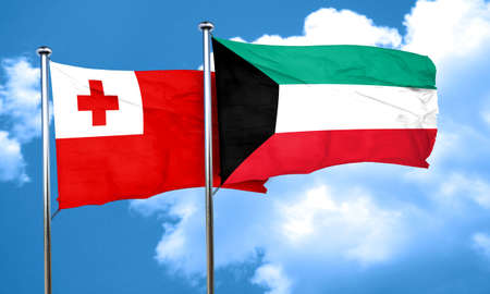 tonga: Tonga flag with Kuwait flag, 3D rendering