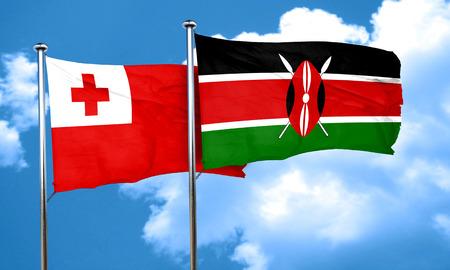 kenya: Tonga flag with Kenya flag, 3D rendering Stock Photo