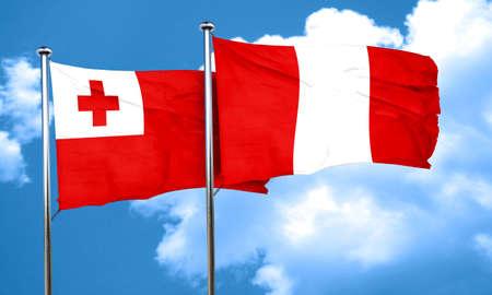 bandera de peru: bandera de Tonga con bandera de Perú, 3D