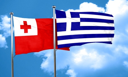 greece flag: Tonga flag with Greece flag, 3D rendering Stock Photo