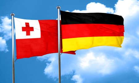 tonga: Tonga flag with Germany flag, 3D rendering