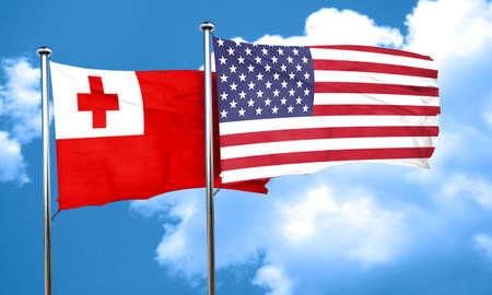 tonga: Tonga flag with American flag, 3D rendering