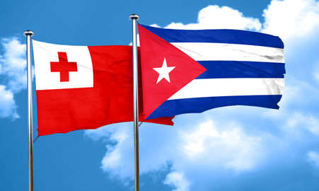 cuba flag: Tonga flag with cuba flag, 3D rendering