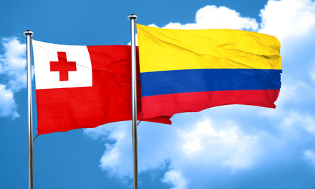 colombia flag: Tonga flag with Colombia flag, 3D rendering Stock Photo