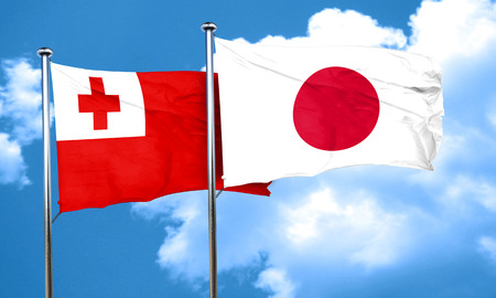 tonga: Tonga flag with Japan flag, 3D rendering