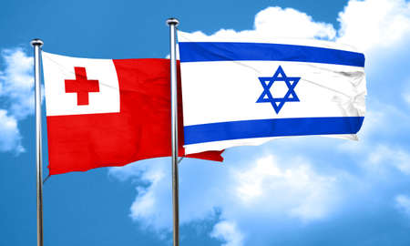 tonga: Tonga flag with Israel flag, 3D rendering