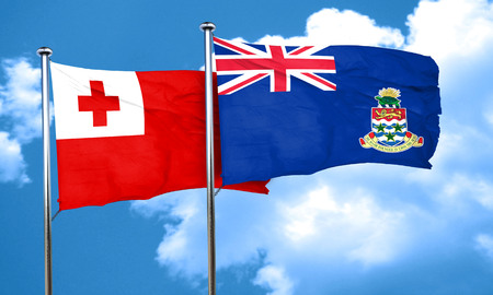 cayman: Tonga flag with Cayman islands flag, 3D rendering Stock Photo