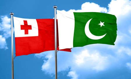 pakistan flag: Tonga flag with Pakistan flag, 3D rendering