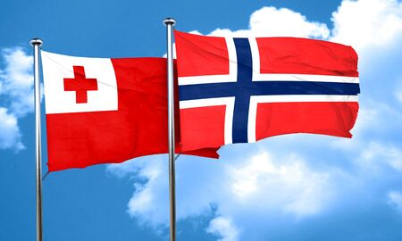 norway flag: Tonga flag with Norway flag, 3D rendering