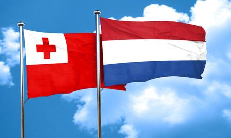 flag of netherlands: Tonga flag with Netherlands flag, 3D rendering