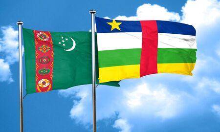 central african republic: Turkmenistan flag with Central African Republic flag, 3D rendering Stock Photo