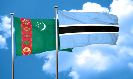 turkmenistan: Turkmenistan flag with Botswana flag, 3D rendering