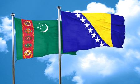 herzegovina: Turkmenistan flag with Bosnia and Herzegovina flag, 3D rendering Stock Photo