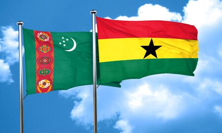 turkmenistan: Turkmenistan flag with Ghana flag, 3D rendering