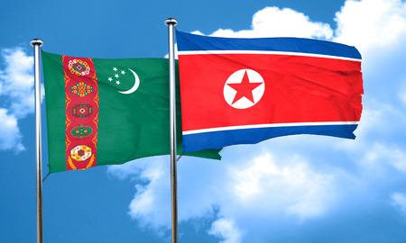 korea flag: Turkmenistan flag with North Korea flag, 3D rendering
