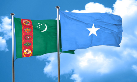 turkmenistan: Turkmenistan flag with Somalia flag, 3D rendering