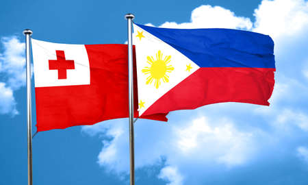tonga: Tonga flag with Philippines flag, 3D rendering