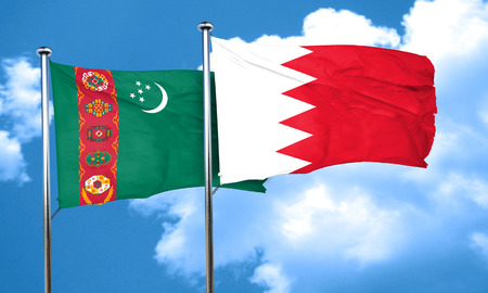turkmenistan: Turkmenistan flag with Bahrain flag, 3D rendering