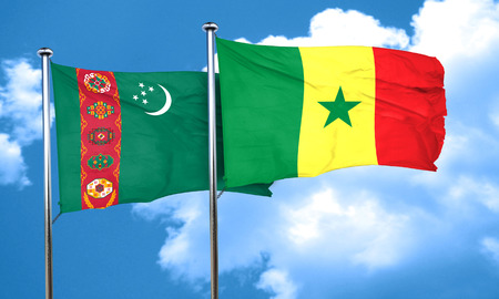 turkmenistan: Turkmenistan flag with Senegal flag, 3D rendering