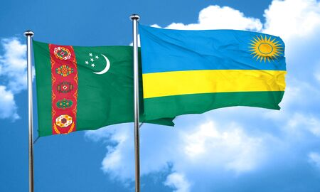 rwanda: Turkmenistan flag with rwanda flag, 3D rendering Stock Photo