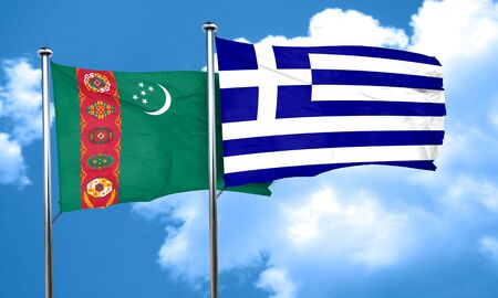 greece flag: Turkmenistan flag with Greece flag, 3D rendering