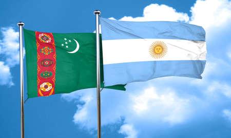 argentine: Turkmenistan flag with Argentine flag, 3D rendering Stock Photo