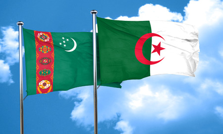 turkmenistan: Turkmenistan flag with Algeria flag, 3D rendering