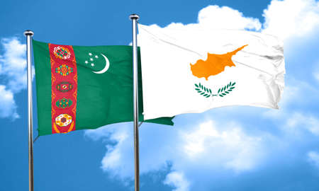 cyprus: Turkmenistan flag with Cyprus flag, 3D rendering