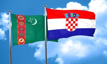 croatia: Turkmenistan flag with Croatia flag, 3D rendering