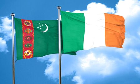 ireland flag: Turkmenistan flag with Ireland flag, 3D rendering