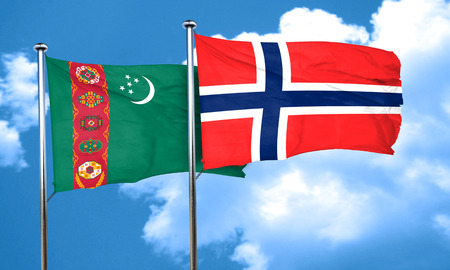 norway flag: Turkmenistan flag with Norway flag, 3D rendering Stock Photo