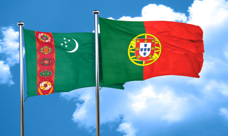 turkmenistan: Turkmenistan flag with Portugal flag, 3D rendering