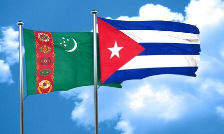 cuba flag: Turkmenistan flag with cuba flag, 3D rendering