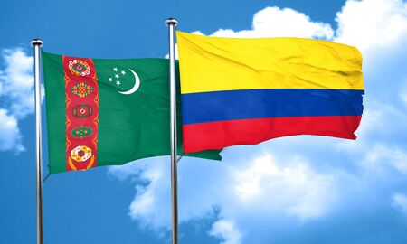 colombia flag: Turkmenistan flag with Colombia flag, 3D rendering