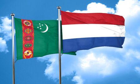netherlands flag: Turkmenistan flag with Netherlands flag, 3D rendering