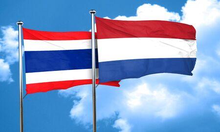 flag of netherlands: Thailand flag with Netherlands flag, 3D rendering Stock Photo