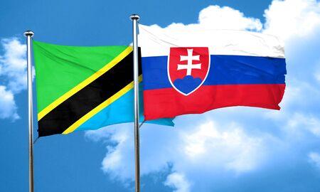 slovakia: Tanzanian flag with Slovakia flag, 3D rendering Stock Photo