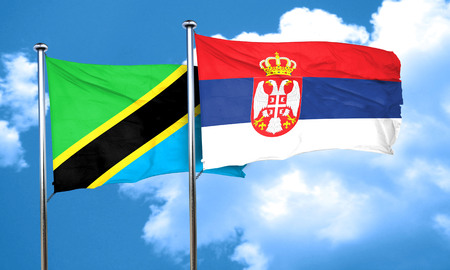 serbia flag: Tanzanian flag with Serbia flag, 3D rendering Stock Photo