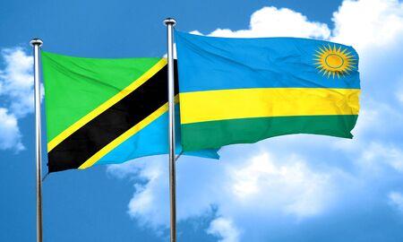 rwanda: Tanzanian flag with rwanda flag, 3D rendering