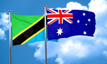 australia flag: Tanzanian flag with Australia flag, 3D rendering