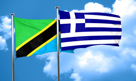 greece flag: Tanzanian flag with Greece flag, 3D rendering Stock Photo